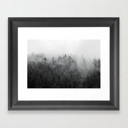 Black and White Mist Ombre Framed Art Print