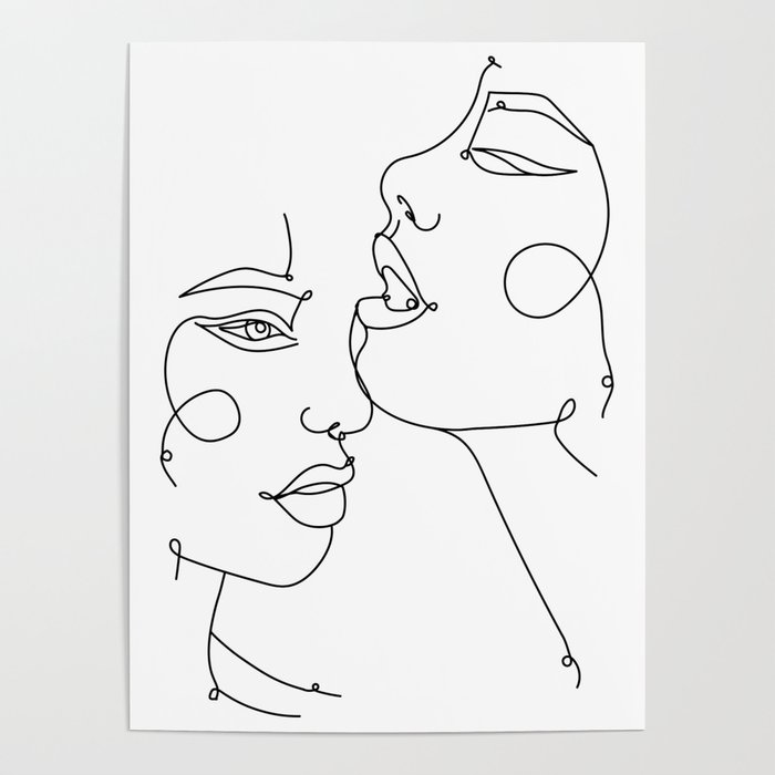 Two Abstract Faces Drawing Fine One Line Art Poster By Valleriaart