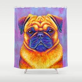 Colorful Rainbow Pug Portrait Shower Curtain
