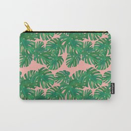 Monstera Stripe on Pink Carry-All Pouch
