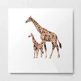 Giraffe Mother and Baby Metal Print