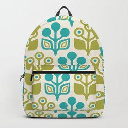 Mid Century Garden Flower Pattern Turquoise Chartreuse Backpack