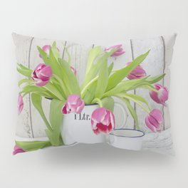 pink spring tulip still life country style Pillow Sham