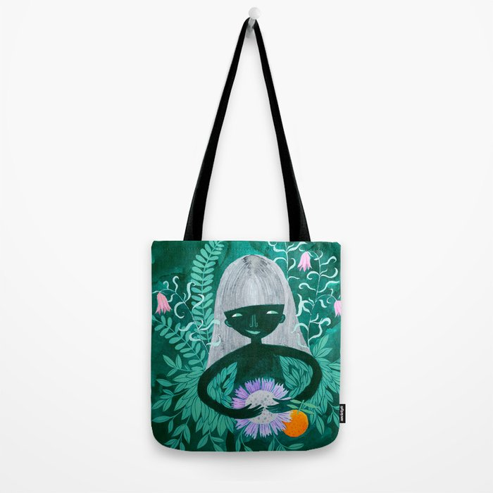 green women with plants and flowers watercolor illustration Tote Bag