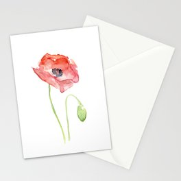 Red Poppy Watercolor Flower Floral Abstract Stationery Cards