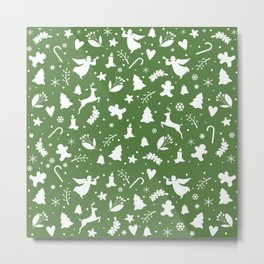 Green Christmas pattern Metal Print