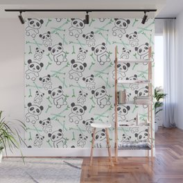 Cute Pandas and bamboos watercolor Wall Mural