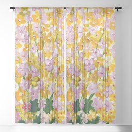 Yellow Flowers Bloom Sheer Curtain