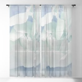 Peony in Blue White Sheer Curtain