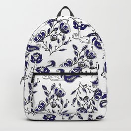 Hand painted navy blue white watercolor chic floral Backpack