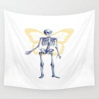 skeleton Wall Tapestries featuring Skeleton Fairy by Antoine