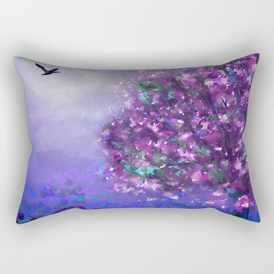 Autumn Tree in Blue and Purple Rectangular Pillow