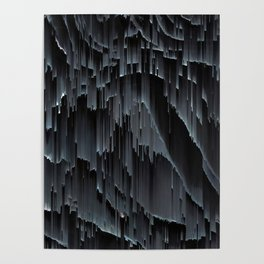 Modern Black Glitch Abstract Poster