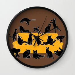 Cute Black Cats on the Sofa | Brown Wall Clock