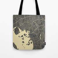 oslo Tote Bags featuring Oslo Map by Map Map Maps