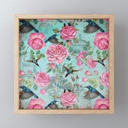 Vintage Watercolor hummingbird and English Roses Framed Mini Art Print