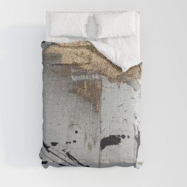 Still: an abstract mixed media piece in black, white, and gold by Alyssa Hamilton Art Comforters