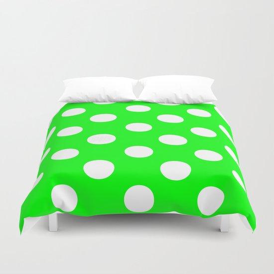 Polka Dots (White/Green) Duvet Cover