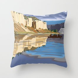 Vintage Poster - Upper Missori River Breaks National Monument, Montana (2015) Throw Pillow