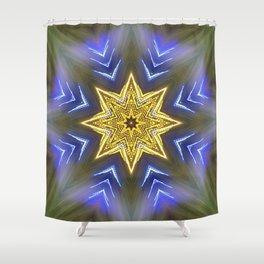 Glistening Golden Star Shower Curtain