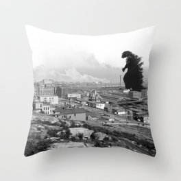 Old Time Godzilla Throw Pillow