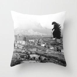 Old Time Godzilla Throw Pillow