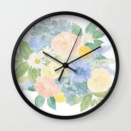 Pastel Blue Watercolour Florals  Wall Clock