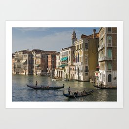 Gondolas And Palaces Of Venice Grand Canal Art Print