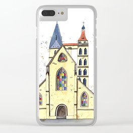 Gothic Church in Germany whimsical watercolor painting Clear iPhone Case