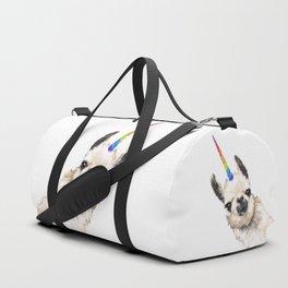 Sneaky Unicorn Llama White Duffle Bag