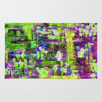 boyfriend Area & Throw Rugs featuring BOYFRIEND SWEATS(violet & lime) by Glint & Lime Art
