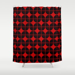 Optical Illusion Pattern Neon Red on Black Shower Curtain