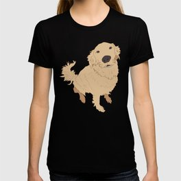Golden Retriever Love Dog Illustrated Print T-shirt