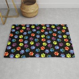 Black Rainbow Paw Print Pattern Rug