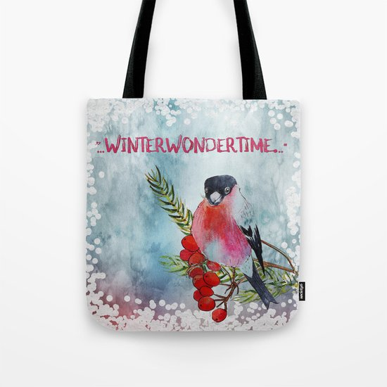 Winter Wondertime - Merry christmas- Little finch on branch-covered with snow Tote Bag