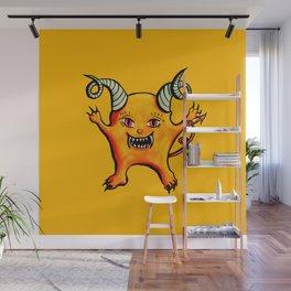 Cute Weird Horned Little Devil Creature Wall Mural