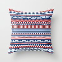 steve rogers Throw Pillows featuring Tribal Heroes - Steve Rogers by monobuu