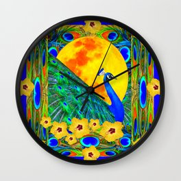 YELLOW HIBISCUS FULL GOLDEN MOON  BLUE PEACOCKS Wall Clock