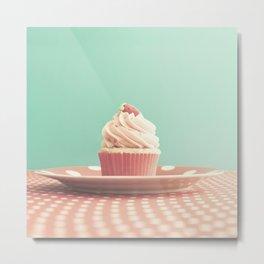 Pastel strawberry cupcake on Polka Dots Table  Metal Print