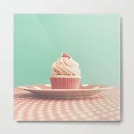 Pastel strawberry cupcake on Polka Dots Table  Metal Print
