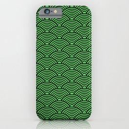 Japanese Waves (Black & Green Pattern) iPhone Case