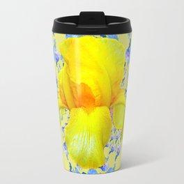 YELLOW & BLUE-WHITE IRIS BLACK ABSTRACT PATTERN Travel Mug