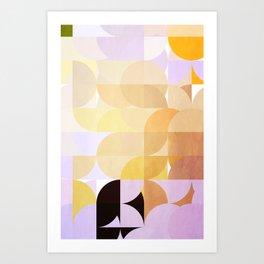 Retro Dots Orchids Art Print