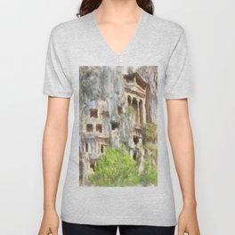 Fethiye Lycian Tombs Watercolor Unisex V-Neck