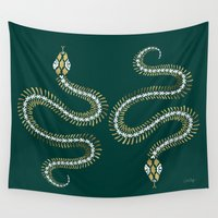 skeleton Wall Tapestries featuring Snake Skeleton – Emerald & Gold by Cat Coquillette
