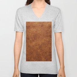 Brown vintage faux leather background Unisex V-Neck