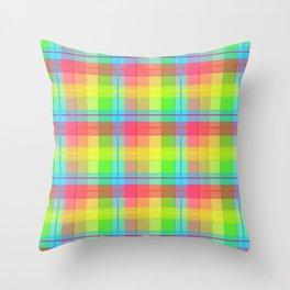 Rainbow Plaid Throw Pillow