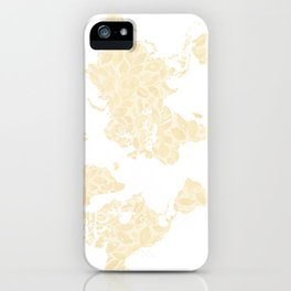Floral watercolor world map in cream and light brown, Remy, no labels iPhone Case