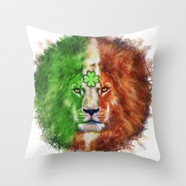 St. Patrick's Day Irish Lion Throw Pillow