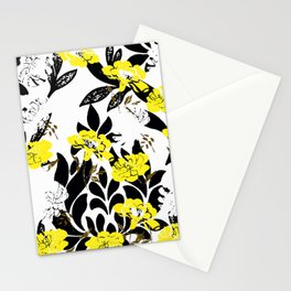 DAMASK PATTERN BLACK WHITE YELLOW TOILE Stationery Cards